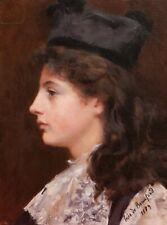 Inès de BEAUFOND tableau huile portrait jeune femme fille chapeau profil 1900