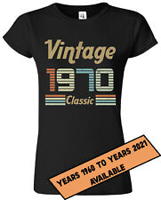 Vintage Since CUSTOMISED YOUR YEAR Birthday Gift Novelty Summers Womens T-Shirts