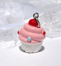 3D Pink and White Handpainted CUPCAKE Resin Charm Pendant cha0126