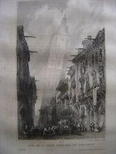 Gravure Vue de la Tour penchée de SARAGOSSE Zaragoza ESPAGNE
