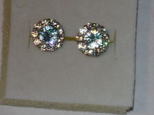 Sterling Silver 1.90Cts. Natural Blue & White Zircon Stud Earrings
