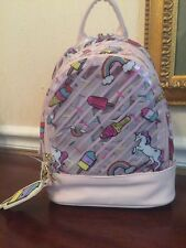 CUTE! Luv Betsey Johnson Ice Cream Rainbows Unicorns Backpack Clear Pink NWT!