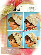 Vintage 70s Knitting Pattern, 4 Styles Of Hat. Fit Average Head. JUST £1.69!!!!