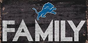 """Detroit Lions FAMILY Football Wood Sign - NEW 12"""" x 6""""  Decoration Gift"""