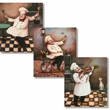 3Jolly Chefs Prints Set 8x10 Kitchen Decor, Prints Wall Art Gift for a Chef Cool