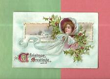Lovely LADY, COUNTRY COTTAGE On Beautiful TUCK Vintage CHRISTMAS Postcard