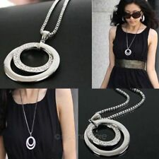 Lady Women Crystal Rhinestone Circle Pendant Long Chain Sweater Necklace