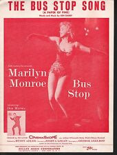 Bus Stop (A Paper of Pins) 1956 Marilyn Monroe Don Murray Sheet Music