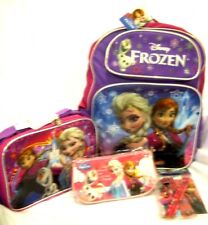 """Frozen 16"""" Purple Backpack,Lunchbox,Pencil Pouch,9pc Stationary Set Combo-New!A"""