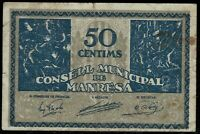Billete Consell de Manresa 50 centims Serie billete local