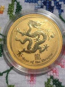 2012  1oz gold Perth Mint lunar Dragon coin