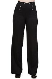 50's Vintage Sailor High Waist Double Button Sailor Wide Leg Black flare Pants