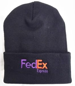 FedEx Express Black Knit Beanie Winter Hat Toque Skull Cap Cuffed 100% ACRYLIC