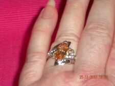 Women's Fashion Ring. Citrine Gem Centrepiece With Topaz Either Side.