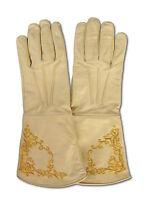 Handschuhe Echt-Leder LARP Mittelalter Lederhandschuhe natur Stickerei M L XL