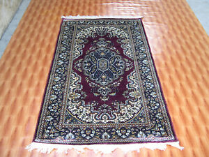 Afghan Silk Oriental Area Rug Carpet Hand Knotted Red Colour Living Room 3x5 ft