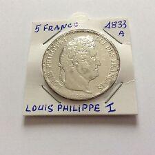 """Pièce de 5 F en arg""""ent Louis Philippe Ier - 1833 A"""