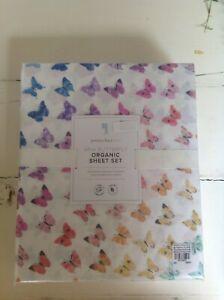 Pottery Barn  Kids Aria Butterfly Rainbow  FULL sheet set organic NIP