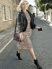 M&S Holly Willoughby Leopard Print Pink Pleated Dress Size 24