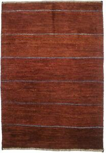 Maroon Red Tribal Stripes Contemporary 3X4 Small Gabbeh Area Rug Oriental Carpet