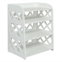 Wood Plastic Board 4-storey Locker Bedside Cabinet Tea Table Coffe e Table White