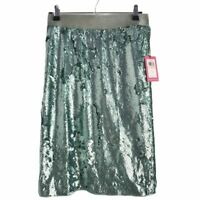 Vince Camuto Womens Pencil Skirt Green Eucalyptus Knee Length Lined Sequin 2 New