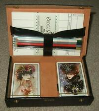 More details for cased black leather double pack bridge set art nouveau lady