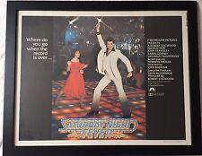 Original Saturday Night Fever 1977 Half Sheet Poster Framed