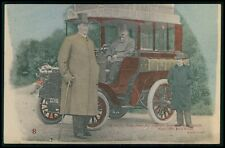 Circus freal giant tall man with Ford automobile original old 1910s postcard