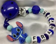 💙 Personalised CHARACTER Dummy Clip 💙 Max 7 Letters 💙 BLUE or PINK Boy Girl💙