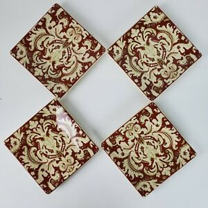 Set of 4 Biltmore Inspirations Damask Breakfast Room Appetizer Plates 5x5 Inch