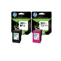 2 X ORIGINAL 2018 DATE HP INK CARTRIDGES HP 301XL COLOUR AND BLACK FAST POSTAGE