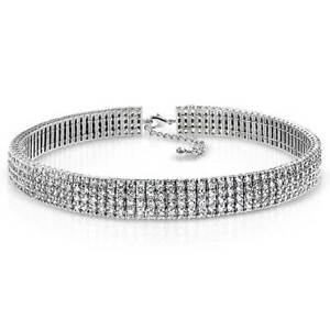 Bridal 4 Row Crystal Bridal Holiday Wide Statement Choker Necklace