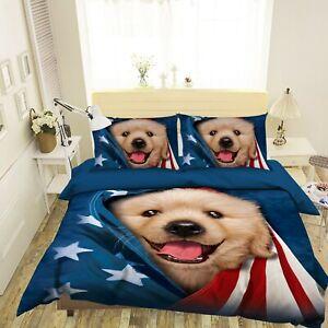 3D Cute Pet Dog Star Puppy N202 Bed Pillowcases Quilt Cover Duvet Vincent Amy