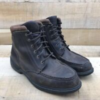 L.L. Bean Mens Work Boots Brown Leather Lace Up Moc Toe 13 M