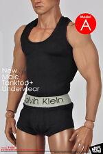 █ MCToys 1/6 CK Black Tank Top & Underwear for Custom Hot Toys Muscular Body █
