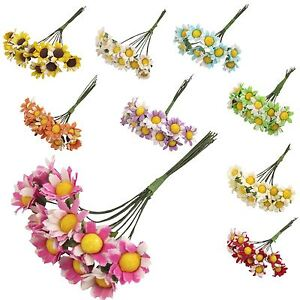 10x Mini Daisy Flower Bunch! Cards Craft Accessories Hats Artificial Silk Fake