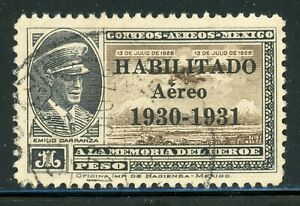 MEXICO Used Air Post Selections: Scott #C36 1P HABILITADO Aereo 1930-1931 CV$2+