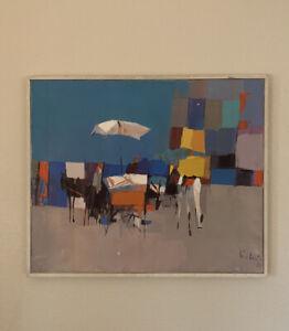 Nicola Simbari, Carrozze In Gaeta (Italian 1927-2012) Signed Oil on Canvas 19x25