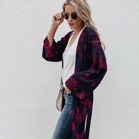 Women Blouse Floral Printed Summer Chiffon Coat Shawl Kimono Cardigan Long Tops