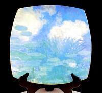 """LUNEVILLE ST CLEMENT FRANCE NYMPHEAS #5 MONET LARGE SIZE 13 3/4"""" SQUARE PLATTER"""