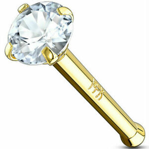 SOLID REAL 14K YELLOW GOLD 20G GEM 1MM 2MM CLEAR CZ NOSE STUD BONE DIMPLE RING