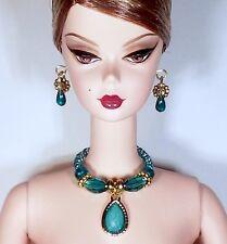 Dreamz TEAL CRYSTAL Teardrop Pendant Necklace Set w Earrings Barbie Doll Jewelry