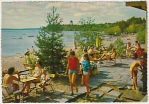 Beach and Cafe, Dalecarlia, Dalarna, Sweden - Vintage Postcard