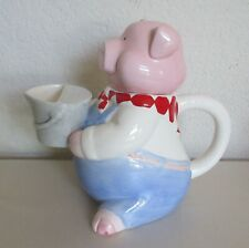 Russ 1990's Pink Pig in Overalls with Watering Can Teapot