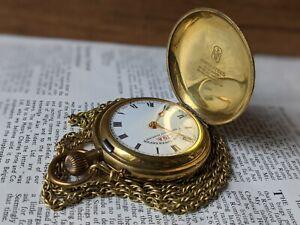 Gents Vintage Liga Superior Timekeeper Full Hunter & Chain Pocket Watch Working