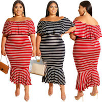Womens Casual Dress Plus Size Off Shoulder Evening Cocktail Skirt Stripe Ruffle