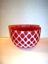 HTF FENTON GLASS LG WRIGHT CRANBERRY OPALESCENT SATIN DIAMOND OPTIC FINGER BOWL