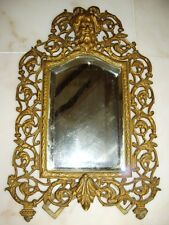 Antique Cast Figural Bacchus Northwind Beveled Easel Mirror