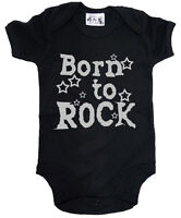"Dirty Fingers ""Born to Rock"" Baby Bodysuit Babygrow Music Heavy Metal Clothes"